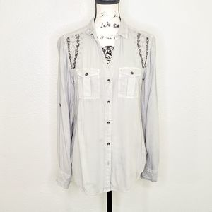 Rock & Republic Embroidered Embellished Shirt M